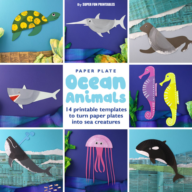 image about Free Printable Sea Creature Templates known as 14 Paper Plate Ocean Pets The Craft Coach