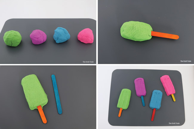 seasy steps to create pretend play ice blocks or popsicles from kinetic sand. This is a fun way to extend kinetic sand sensory play #kineticsand #sandplay #pretendplay #kidsactivities #playfood #sensoryplay #sponsored