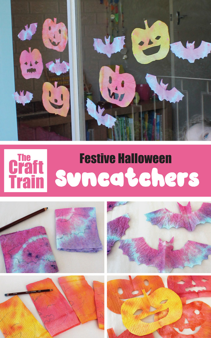 Festive Halloween suncatcher craft for kids, perfect for Halloween decorating #kidsactivities #kidscrafts #halloween #pumpkin #bat #suncatcher #halloweendecorations #halloweencrafts