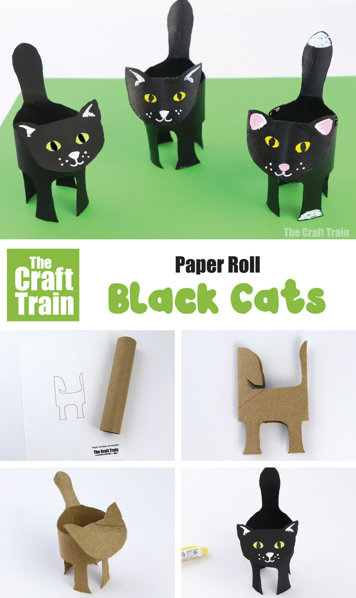 Easy black cat craft for kids with free printable template #blackcat #recycledcrafts #paperroll #halloween #kidscrafts #kidsactivities #halloweencrafts