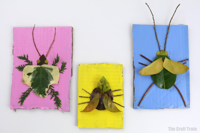 Easy nature craft for kids. Make nature art bugs from leaves and twigs painted with mod podge #natureart #bugs #insects #kidscrafts #outdoors #modpodge #creativefun #kidsactivties #kidscrafts