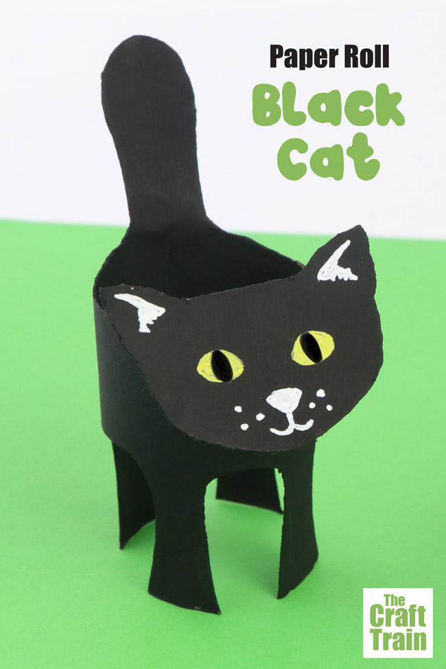 Black cat paper roll craft, use the printable template to get the outline to make this cute black cat craft for halloween #halloweencrafts #paperrollcrafts #blackcat #animalcrafts #cardboardtube #cardboardcraft #halloween #kidscrafts