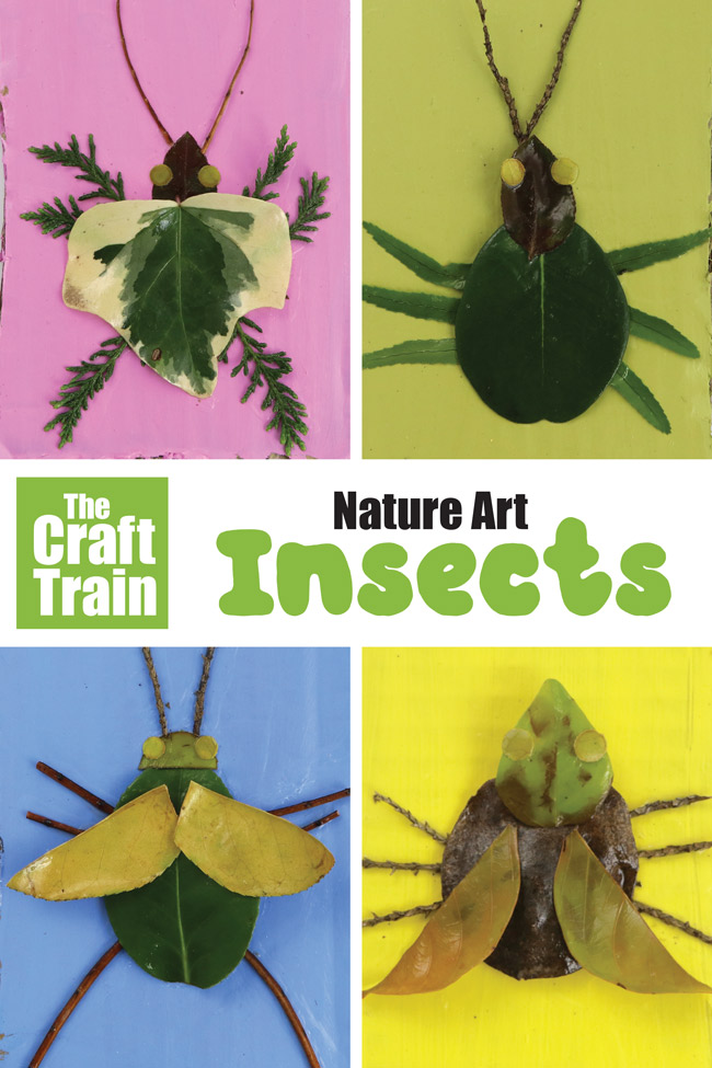 Nature art insects kids can make from leaves and sticks. This is a great outdoor summer activity kids will adore! #summer #bugcraft #bugs #insects #minibeasts #popart