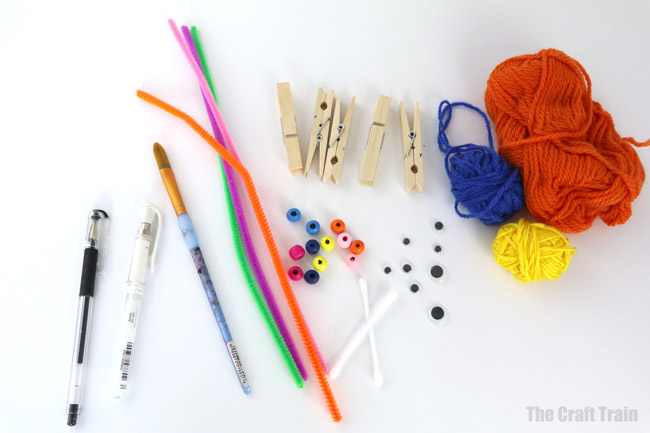 The materials you need to make peg monsters for Halloween