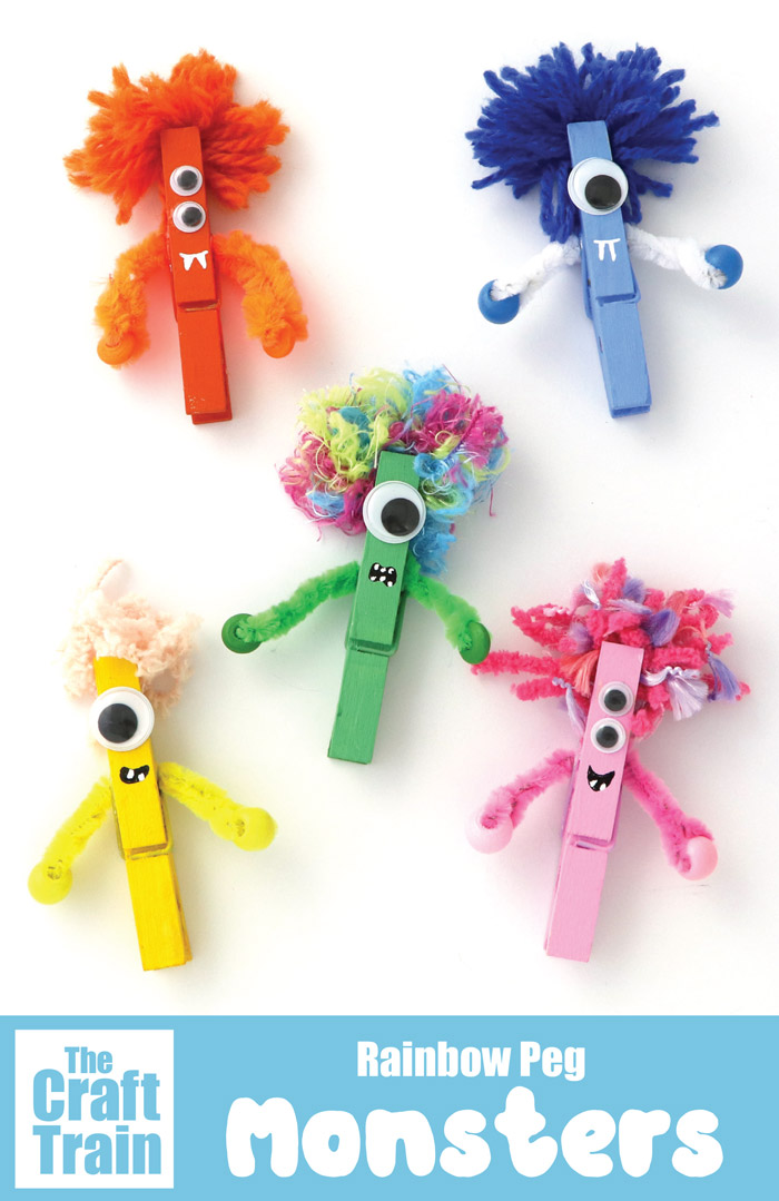 Easy monster craft for kids using pegs #rainbow #monsters #halloween #kidscrafts #kidsactivities #monstercrafts