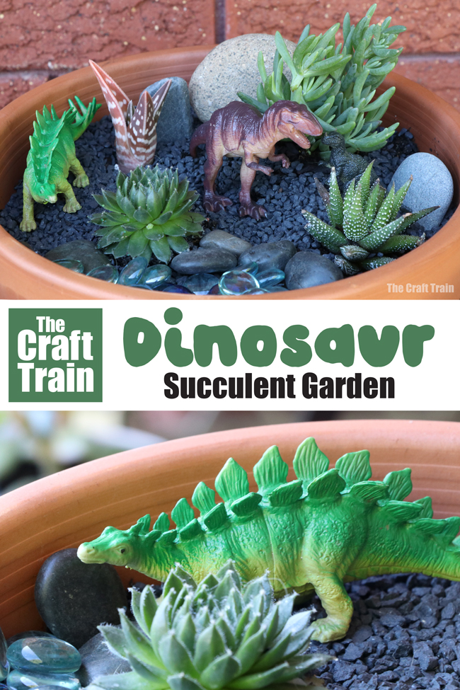 Dinosaur succulent garden kids can make. This would make a great Spring gardening project for kids, and could also be used as a small world for imaginary play #dinosaurs #dinosaurgarden #gardeningforkids #succulentgarden #smallworld