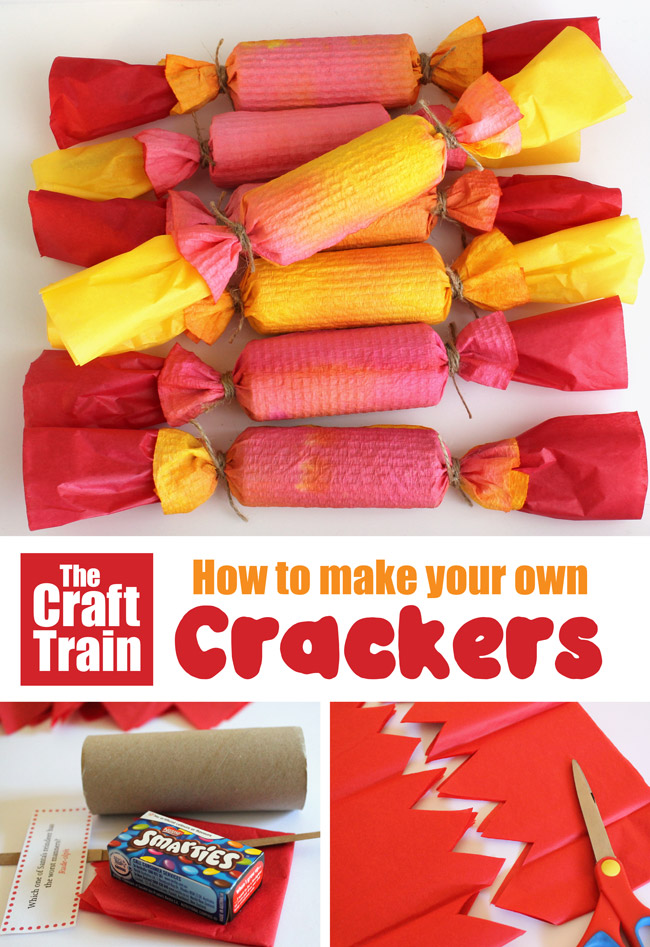 Easy DIY Christmas crackers. Make your own fun crackers to decorate the Christmas table at home, includes free printable jokes #Christmascrafts #crackers #Christmas #cardboardtubes #handmadegifts