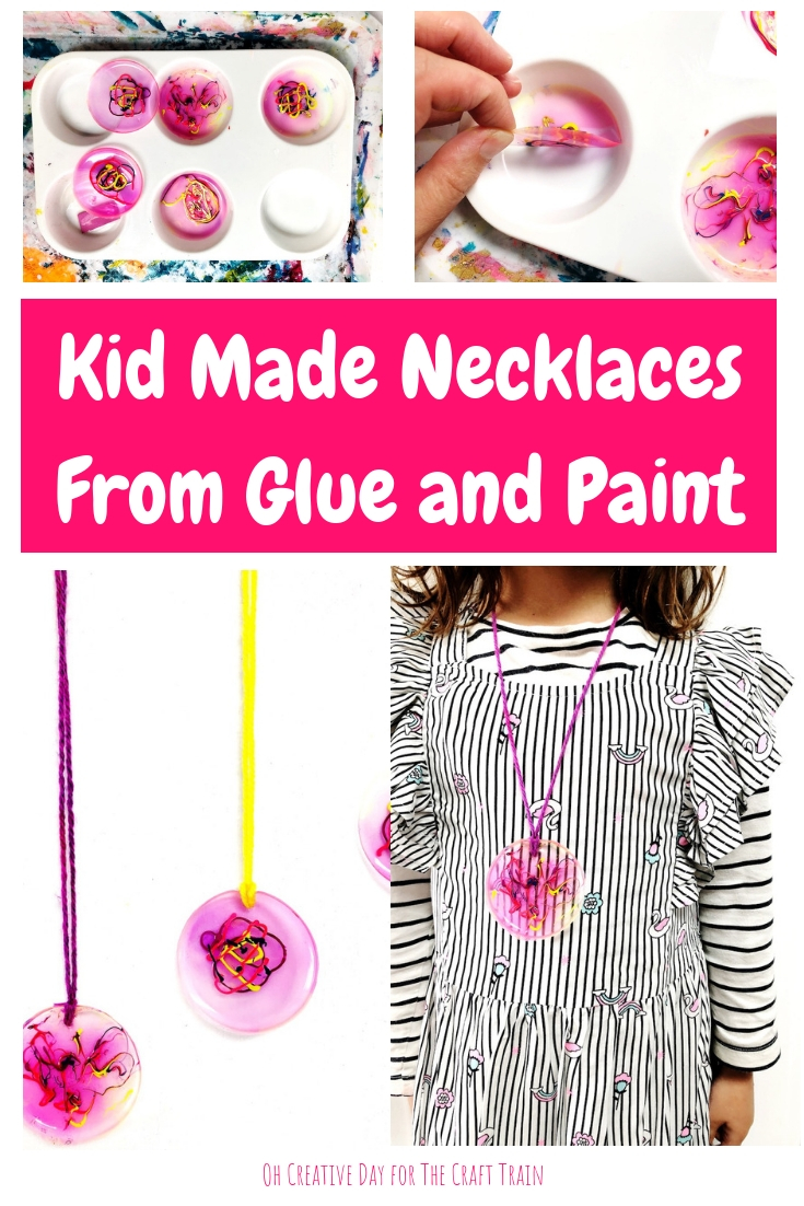 Kid made necklaces with glue and paint. This would make a great DIY gift idea for somebody special! By Oh Creative Day for The Craft Train #handmadegifts #kidscrafts #jewellery #kidmade