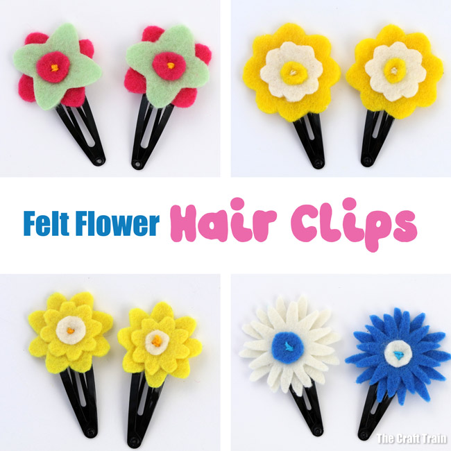 Easy DIY hair clips - make your own flower hair clips from felt using our printable pattern #diy #flowers #spring #hairaccessories #handmadegifts #giftideas #kidscrafts #kids #kidssewing