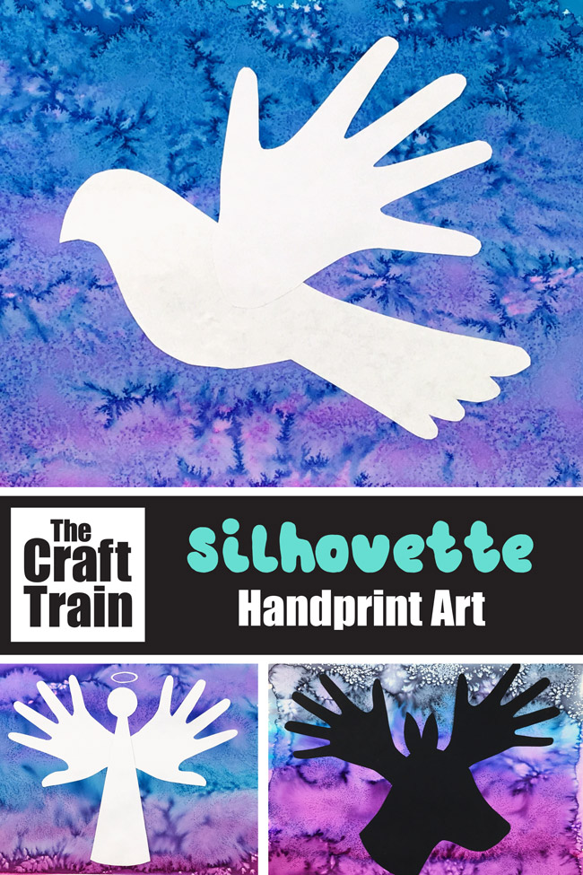 Christmas handprint art in peace dove, reindeer and angel designs. Create a process art background using liquid watercolour and salt, then use the printable template and handprint shapes to create the silhouette art #christmas #christmasart #handprint #handprintart #dove #peacedove #reindeer #angel