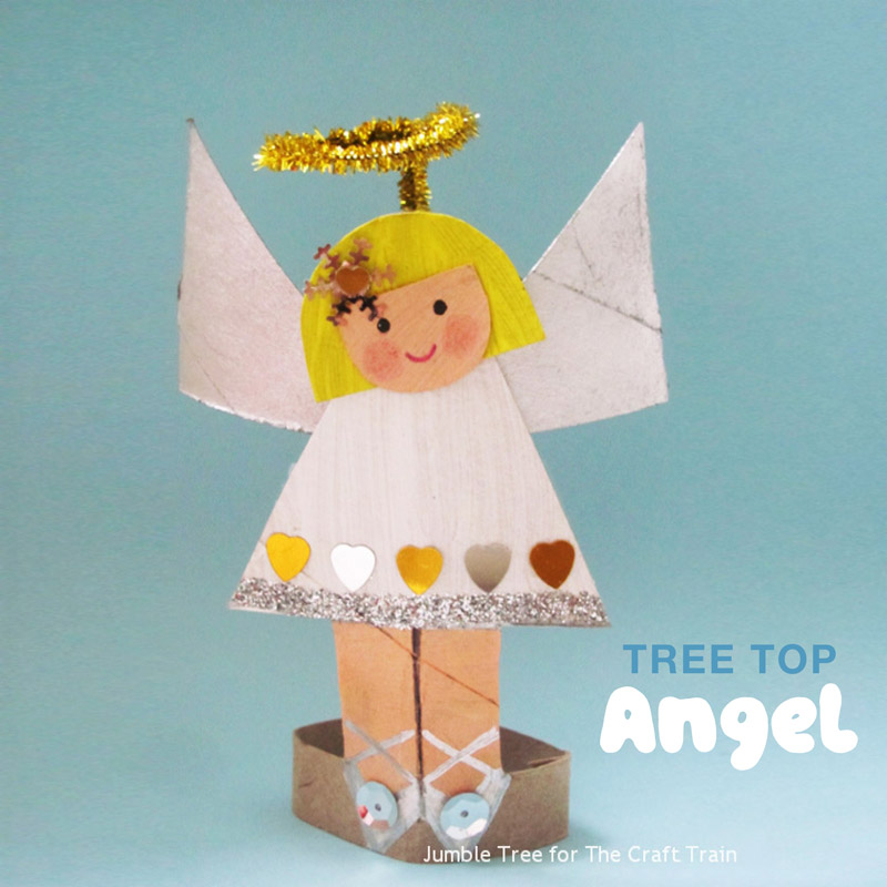 Tree top angel craft. Make a sweet paper roll angel for the top of the Christmas tree. This is a fun Christmas recycling craft idea for kids! #Christmascraft #kidscraft #angel #angelcraft #paperroll #cardboard #ornament