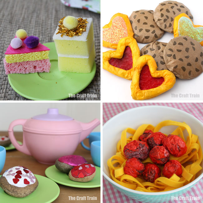 50 fun DIY toys for kids including pretend play food #pretendplay #playfood #teaparties #diytoys #craftsforkids #play #kidsactivities #creativekids #toys #spongecrafts