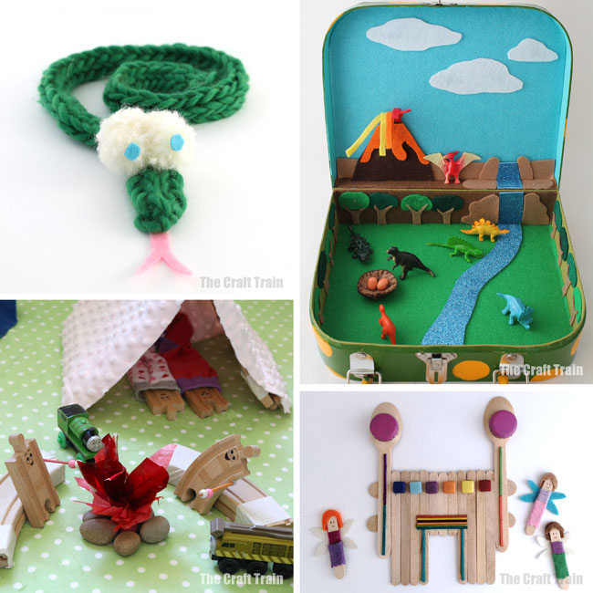 50 fun DIY toys for kids including small worlds and other imaginary play ideas #imaginaryplay #handmadetoys #pretendplay #diytoys #craftsforkids #play #kidsactivities #creativekids #toys #spongecrafts