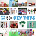 50 fun DIY toys for kids including games you can make, toys for pretend play, imaginary play, STEM crafts and more #imaginaryplay #handmadetoys #pretendplay #diytoys #craftsforkids #play #kidsactivities #creativekids #toys #spongecrafts