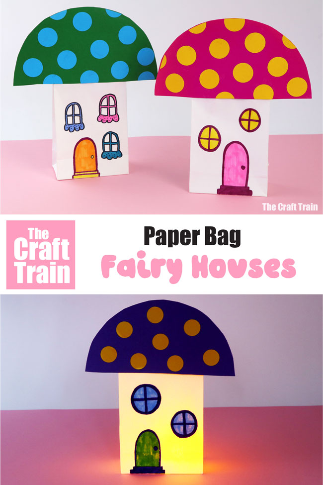 Fairy houses made from paper bags. Use these cute toadstool homes for play or place an LED tealight inside them to make a paper bag lantern #fairycraft #fairies #paperbags #toadstool #kidscrafts #fairyhouse
