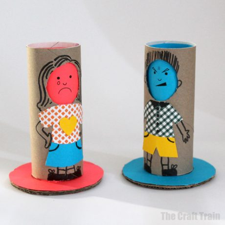 Empathy dolls for kids - help kids to understand and express big feelings and emotions with these paper roll dolls. Printable template included #empathy #empathydolls #emotions #learningforkids #paperrollcrafts #kidscrafts #craftsforkids