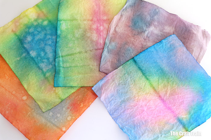 scrunch-dyed paper towel