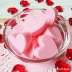 strawberry soap DIY - cute strawberry heart shaped soaps kids can make. These would make a sweet handmade gift for Valentines Day or Mothers Day #handmadesoap #strawberry #hearts #valentines #handmadegifts #diysoap