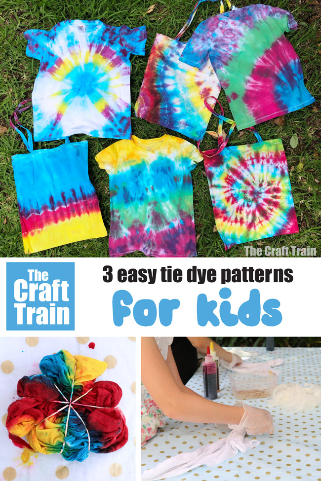 How to tie dye - 3 easy tie dye patterns kids can make including the swirl, the sunburst and stripes #kidscrafts #tiedye #fabricart #summercrafts #creativefun #easycrafts #patterns