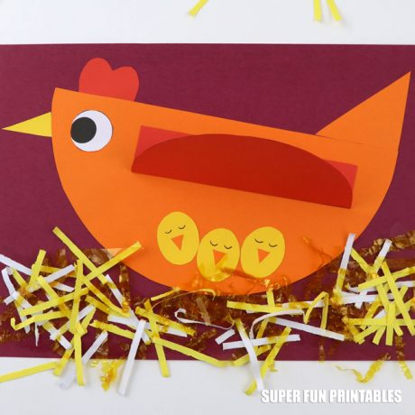 Adorable geometric chicken craft for kids. This is a simple cutting and pasting craft activity for kids using geometric shapes to create a mother hen with three baby chicks tucked under her wing. It makes a great Spring or animal paper craft idea #spring #animalcraft #papercraft #kidscrafts #spring #chick #eastercraft #finemotor