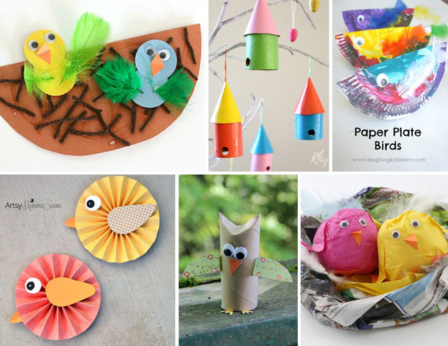Bird and chick crafts for kids #chicks #birdcrafts #birds #spring #springcrafts #kidscrafts #kidsactivities #kidsideas