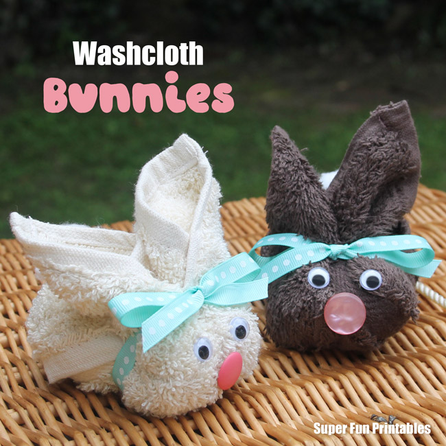 Washcloth bunny craft for Easter. Make a simple Easter bunny from a washcloth and place a chocolate egg on it's back to make a sweet handmade gift for Easter #Easter #handmadegifts #bunny #eastercraft #bunnycraft #handmadegift #washclothcraft