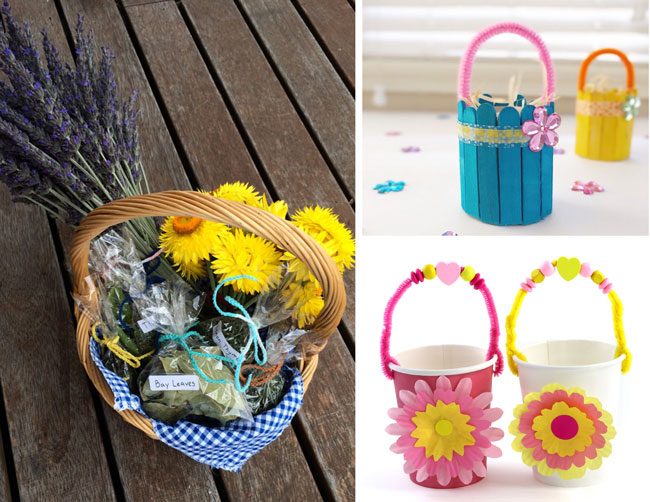 Flower basket ideas for kids – from a collection of 20 awesome Easter baskets kids can make #easter #eastercrafts #baskets #kidscrafts