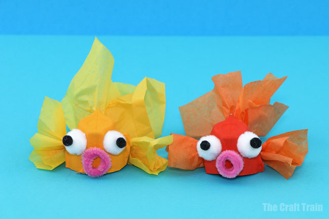 Egg carton goldfish craft for kids #recyclingcraft #eggcartons #goldfish #oceancraft #fishcraft #summer #kidsactivities #kidscrafts