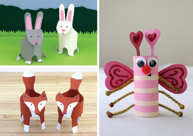 Animal crafts from paper rolls – bunnies, foxes and bugs #paperrolls #kidscrafts #toiletrolls #cardboardtubes #recyclingcrafts