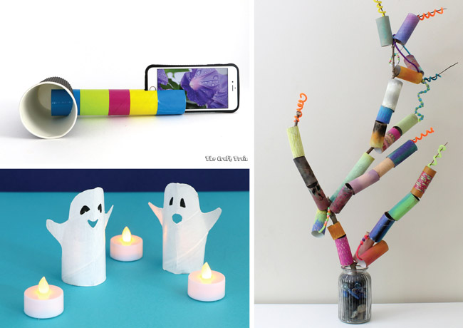 Cool crafts to make from paper rolls – ipod speaker, spooky ghosts and paper roll collaborative art tree #paperrolls #kidscrafts #toiletrolls #cardboardtubes #recyclingcrafts