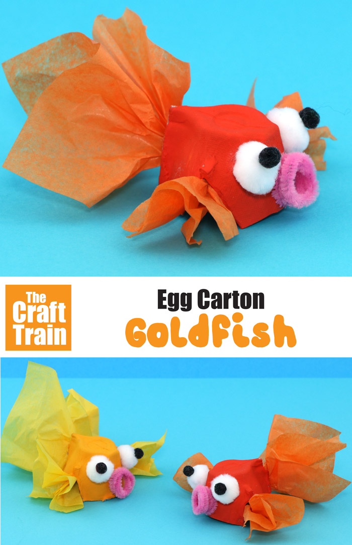 egg carton goldfish craft for kids