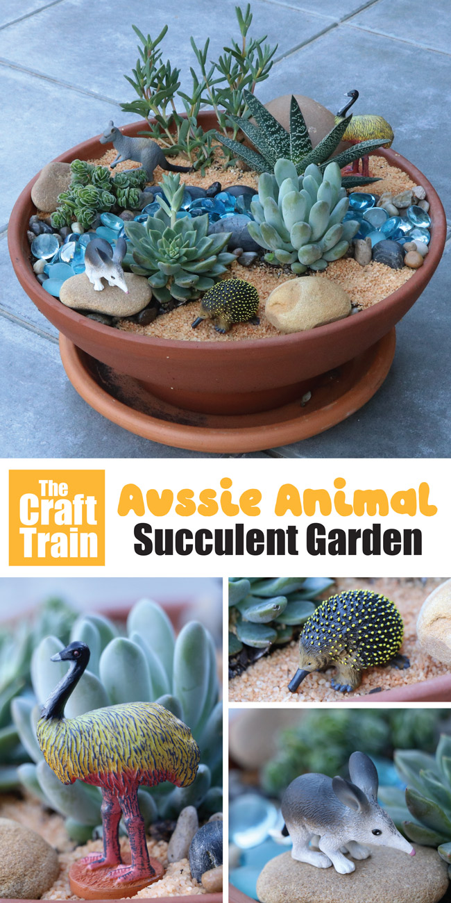 Australian animal succulent garden idea. This is a fun gardening with kids project and creates a gorgeous small world to invite imaginary play. It is also great for a decorative potted garden idea with an Australian animal theme and makes a beautiful handmade gift #succulents #succulentgarden #smallworld #gardeningwithkids #australiananimals #gardening #kidsactivities #handmadegifts