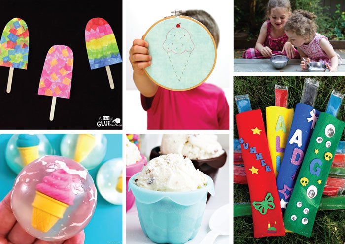 ice cream crafts and activities for kids #summerbucketlist #kidscrafts #kidsactivities #summer #summercrafts #play #thecrafttrain