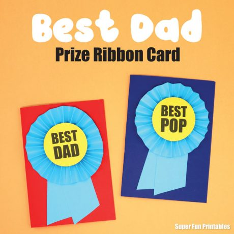 Fathers day card idea - make a Best Dad card by creating a paper prrize ribbon rosette and then listing the reasons why he is so great on the inside. Printable template available #fathersday #fathersdaycard #handmadecards #papercrafts #kidscrafts #printables #superfunprintables #thecrafttrain