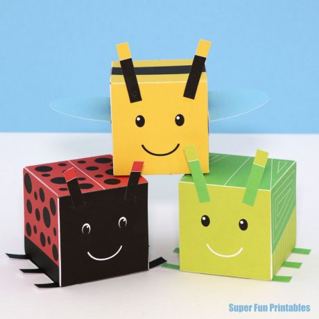 Cute bug craft idea for kids. Make 4 different bugs from 3D cubes with this printable template