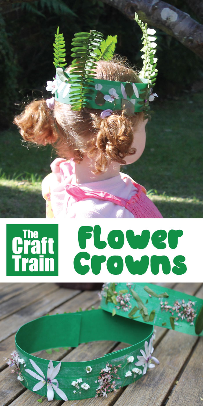 Create flower crowns by sticking flowers collected from the garden to strips of paper with double sided tape #flowercraft #flowers #kidscrafts #naturecraft #kidmade #spring #summer