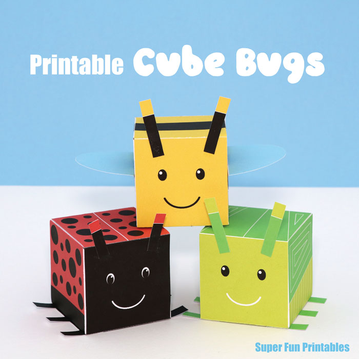 Printable 3D cube templates that look like bugs. There is a bee, ladybug, green garden bug and an orange stripy garden bug to create. This is a fun and engaging way for kids to learn about 3D shapes #3Dshapes #cube #bee #ladybug #bugcraft #kidscraft #papercraft #summer #spring #bugs #minibeasts #printable #cube