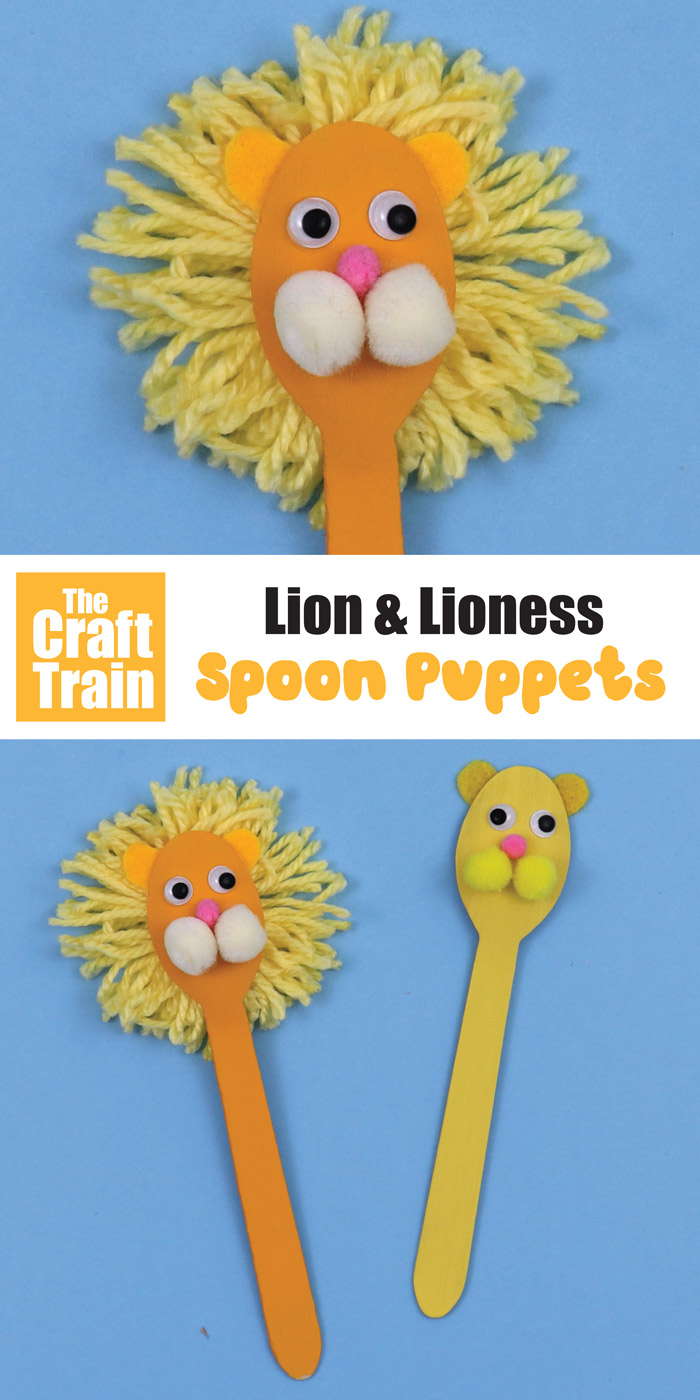 Lion spoon craft idea for kids. This is a fun idea for a Lion King craft, or just an African animal craft and makes a great DIY toy to inspire imaginary play in kids. #spoon #spoonpuppet #lion #lioncraft #thelionking #kidscraft #lionpuppet #diytoy #africa #animalcraft #thecrafttrain #kidsactivities