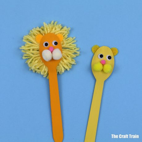 Lion spoon puppet craft for kids