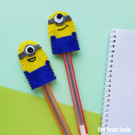 minion craft for kids - adorable felt pencil toppers hand-sewn with blanket stitch