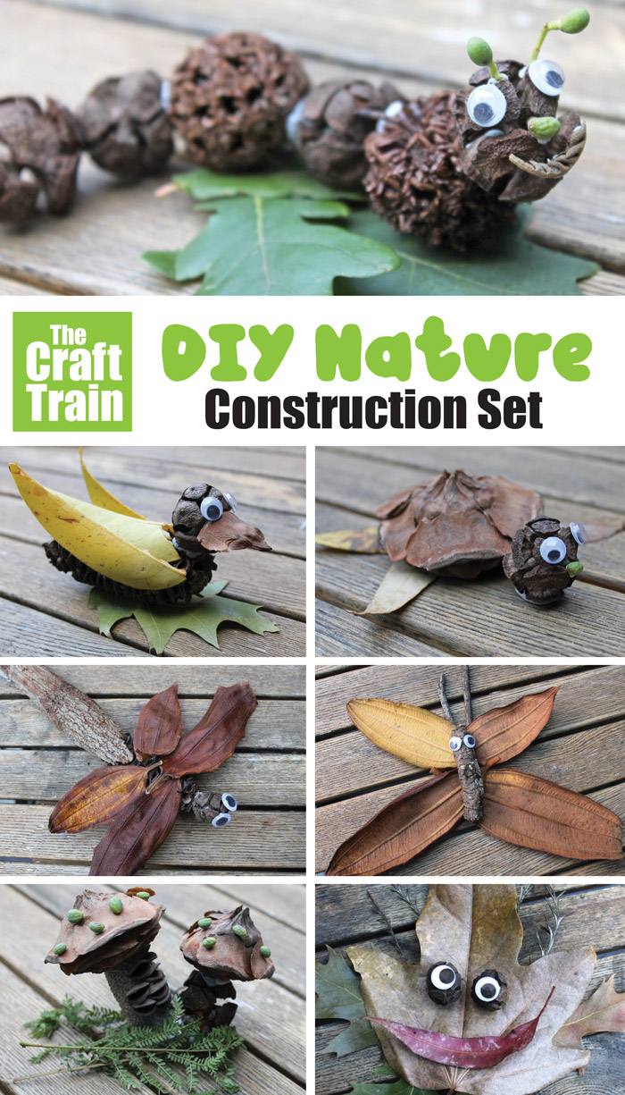 nature STEM craft idea for kids - make a DIY nature craft construction set