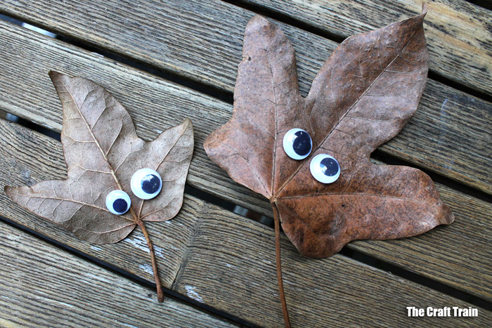 kid-made leaf faces