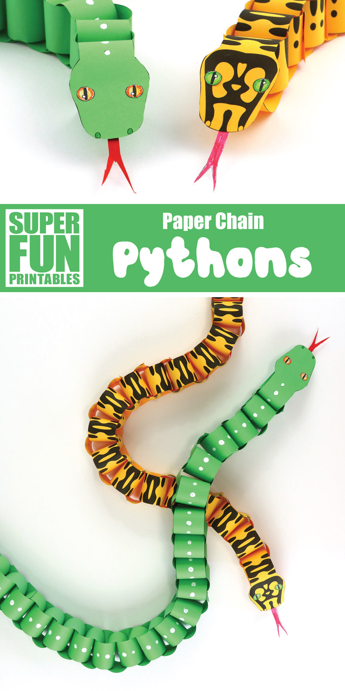 Paper chain snakes based on two real species of python found in Australia's Daintree Rainforest. Use our printable template to create realistic-looking snakes or use the blank template to design your own snake #python #greentreepython #junglecarpetpython #papersnake #snakecraft #paperchain #papercrafts #kidscrafts #educationalcrafts #stem #steam #kidsactivities #superfunprintables #thecrafttrain