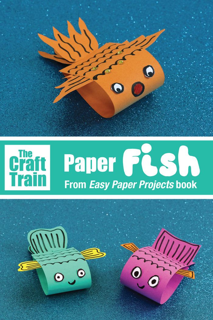 Simple paper fish craft from Maggy Woodly's Easy Paper Projects book. So cute, and very quick and easy to make. #papercrafts #kidscrafts #paperprojects #fish #marineanimal #craftforkids #kidscrafts #fishcrafts #oceananimals #kidsactivities