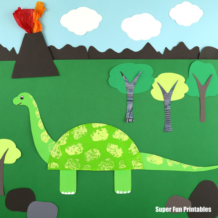 Paper plate diplodicus dinosaur craft for kids