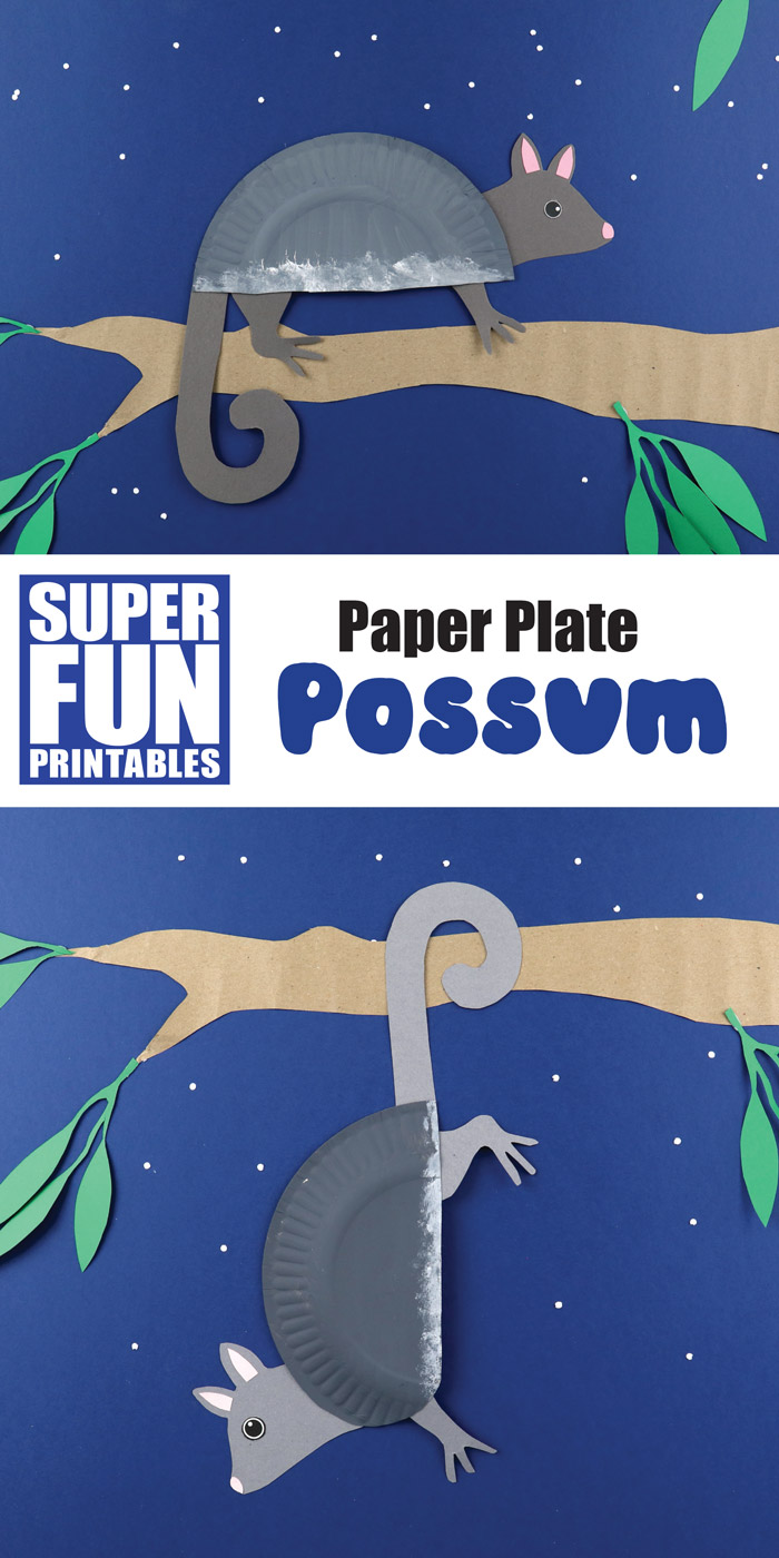 Easy paper plate craft for kids - make a paper plate possum based on the Ring Tailed possum species from Australia. THis is a fun Australian animal craft idea with a printable template available #possum #ringtailedpossum #australiananimals #animalcrafts #paperplates #paperplatecrafts #kidsactivities #kidscrafts #printablecrafts #superfunprintables #thecrafttrain