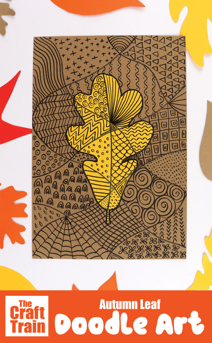 Creative Autumn or Fall art idea for kids #autumn #fall #doodleart #kidsart #artactivity #patternart #papercraft #leafart