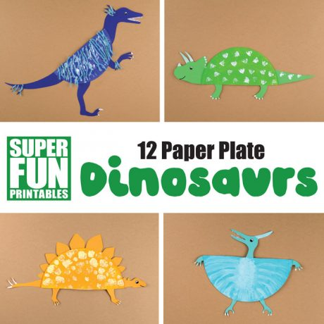 12 easy dinosaur paper plate crafts for kids with printable templates