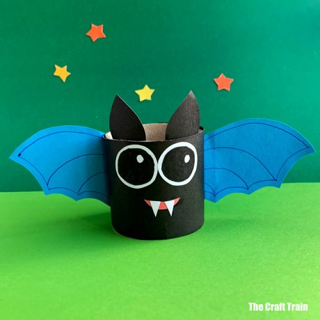 Bat craft for kids made from a recycled paper roll
