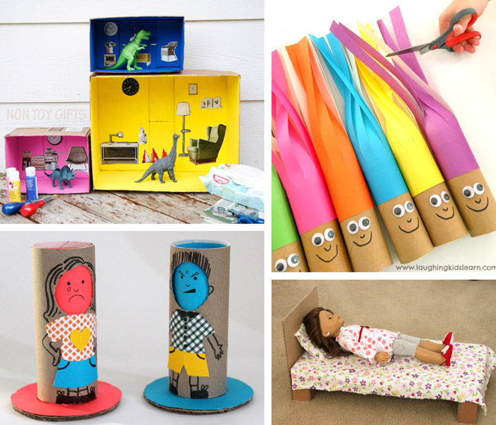cardboard doll ideas, box doll house, hair cut dolls, empathy dolls and a shoe box bed